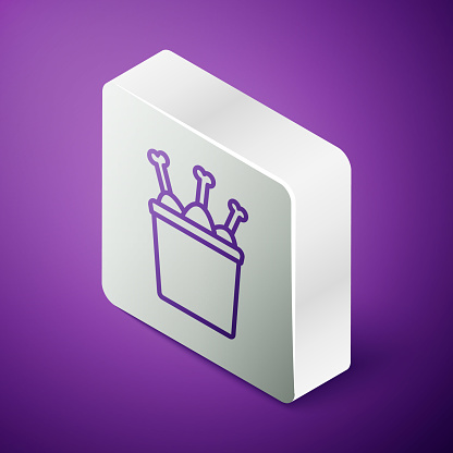Isometric line Chicken leg in package box icon isolated on purple background. Chicken drumstick. Silver square button. Vector Illustration