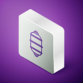 istock Isometric line Chinese paper lantern icon isolated on purple background. Silver square button. Vector Illustration 1271579493