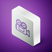 istock Isometric line Cinema camera icon isolated on purple background. Video camera. Movie sign. Film projector. Silver square button. Vector Illustration 1269291620