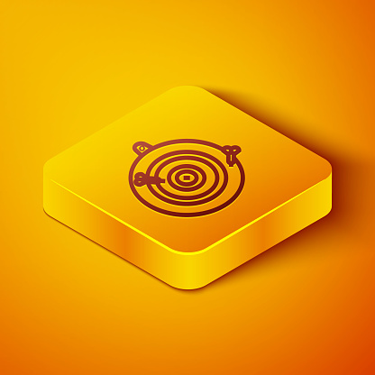 Isometric line Classic dart board and arrow icon isolated on orange background. Dartboard sign. Game concept. Yellow square button. Vector Illustration