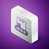 Isometric line Conveyor belt with cardboard box icon isolated on purple background. Silver square button. Vector Illustration