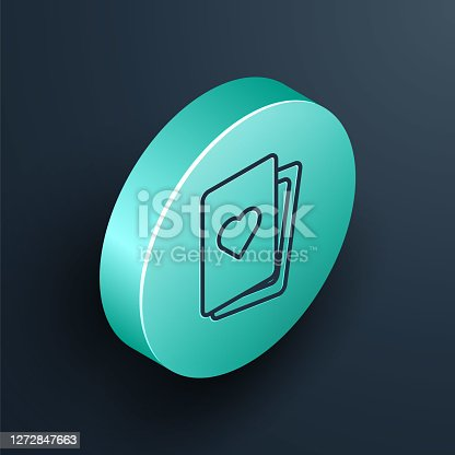 istock Isometric line Deck of playing cards icon isolated on black background. Casino gambling. Turquoise circle button. Vector 1272847663