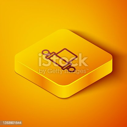 Isometric line Decree, paper, parchment, scroll icon icon isolated on orange background. Chinese scroll. Yellow square button. Vector Illustration