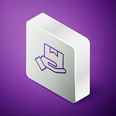 Isometric line Delivery hand with cardboard boxes icon isolated on purple background. Door to door delivery by courier. Silver square button. Vector Illustration