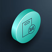 Isometric line Delivery with cardboard boxes icon isolated on black background. Door to door delivery by courier. Turquoise circle button. Vector Illustration