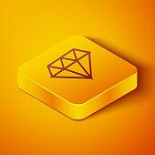 Isometric line Diamond icon isolated on orange background. Jewelry symbol. Gem stone. Yellow square button. Vector Illustration