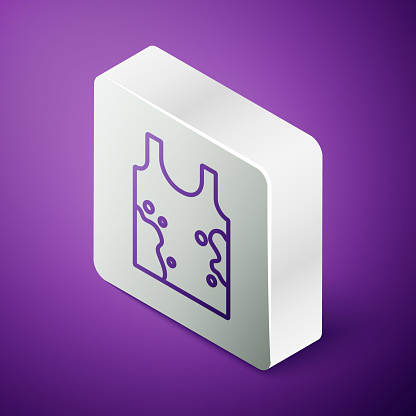 Isometric line Dirty t-shirt icon isolated on purple background. Silver square button. Vector