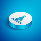 Isometric line Eiffel tower icon isolated on blue background. France Paris landmark symbol. White circle button. Vector.