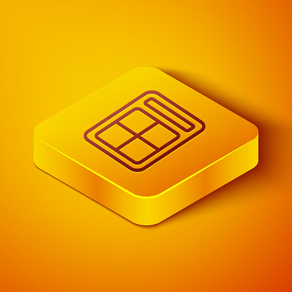 Isometric line Eye shadow palette with brush icon isolated on orange background. Yellow square button. Vector Illustration