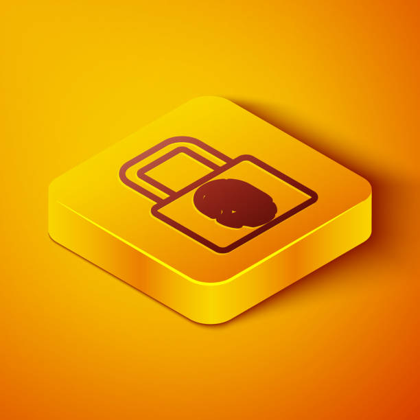 Isometric line Fingerprint with lock icon isolated on orange background. ID app icon. Identification sign. Touch id. Yellow square button. Vector Isometric line Fingerprint with lock icon isolated on orange background. ID app icon. Identification sign. Touch id. Yellow square button. Vector. human finger stock illustrations