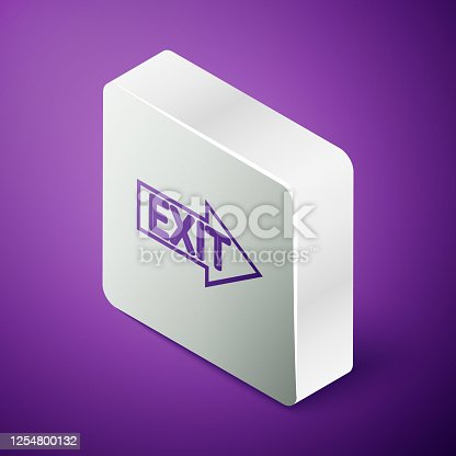 Isometric line Fire exit icon isolated on purple background. Fire emergency icon. Silver square button. Vector Illustration