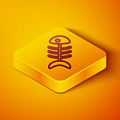 Isometric line Fish skeleton icon isolated on orange background. Fish bone sign. Yellow square button. Vector.