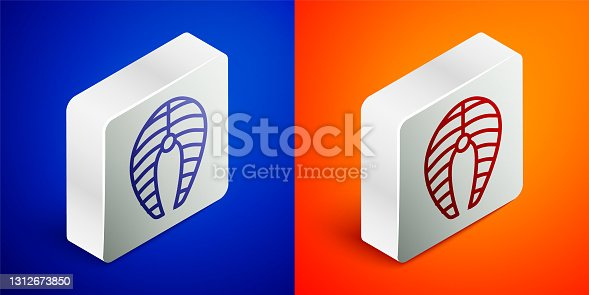 istock Isometric line Fish steak icon isolated on blue and orange background. Silver square button. Vector 1312673850