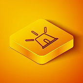 Isometric line Flasher siren icon isolated on orange background. Emergency flashing siren. Yellow square button. Vector Illustration