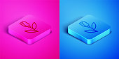 Isometric line Flower rose icon isolated on pink and blue background. Square button. Vector