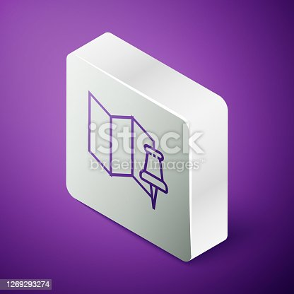 istock Isometric line Folded map with push pin icon isolated on purple background. Silver square button. Vector Illustration 1269293274