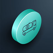 Isometric line Fuel tanker truck icon isolated on black background. Gasoline tanker. Turquoise circle button. Vector Illustration