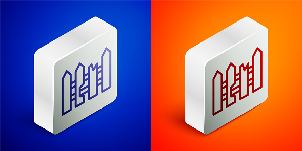 Isometric line Garden fence wooden icon isolated on blue and orange background. Silver square button. Vector