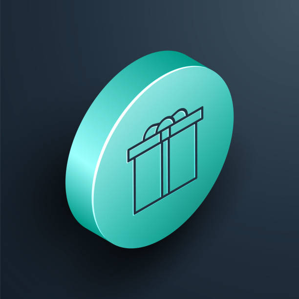 Isometric line Gift box icon isolated on black background. Happy Birthday. Turquoise circle button. Vector Illustration Isometric line Gift box icon isolated on black background. Happy Birthday. Turquoise circle button. Vector Illustration anniversary clipart stock illustrations