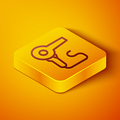 Isometric line Hair dryer icon isolated on orange background. Hairdryer sign. Hair drying symbol. Blowing hot air. Yellow square button. Vector Illustration