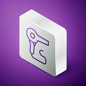 Isometric line Hair dryer icon isolated on purple background. Hairdryer sign. Hair drying symbol. Blowing hot air. Silver square button. Vector Illustration
