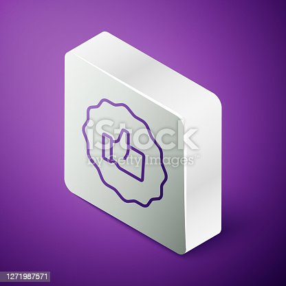 istock Isometric line Hand thumb up icon isolated on purple background. Silver square button. Vector 1271987571