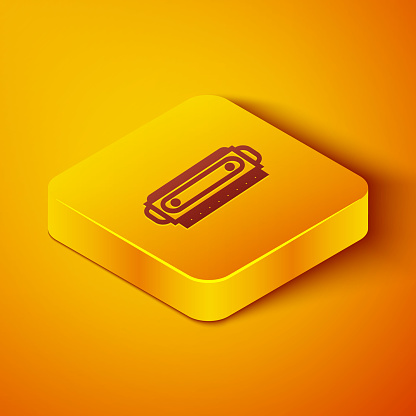 Isometric line Harmonica icon isolated on orange background. Musical instrument. Yellow square button. Vector Illustration