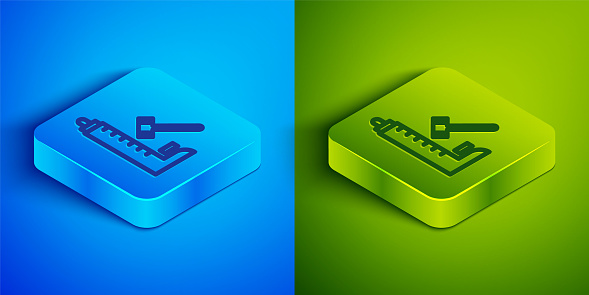Isometric line High striker attraction with big hammer icon isolated on blue and green background. Attraction for measuring strength. Amusement park. Square button. Vector