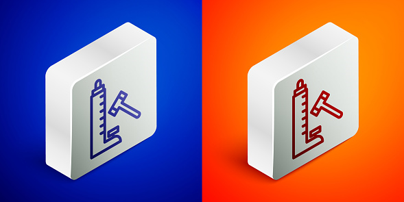 Isometric line High striker attraction with big hammer icon isolated on blue and orange background. Attraction for measuring strength. Amusement park. Silver square button. Vector