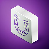 Isometric line Horseshoe icon isolated on purple background. Silver square button. Vector.