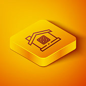 Isometric line House icon isolated on orange background. Home symbol. Yellow square button. Vector Illustration