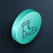istock Isometric line Hunter boots icon isolated on black background. Turquoise circle button. Vector 1295278681