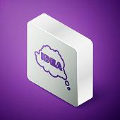 istock Isometric line Idea, speech bubble icon isolated on purple background. Message speech bubble idea with cloud talk. Silver square button. Vector 1271987503
