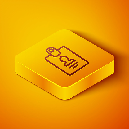 Isometric line Identification badge icon isolated on orange background. It can be used for presentation, identity of the company, advertising. Yellow square button. Vector Illustration