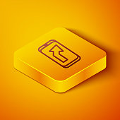 Isometric line Infographic of city map navigation icon isolated on orange background. Mobile App Interface concept design. Geolacation concept. Yellow square button. Vector Illustration
