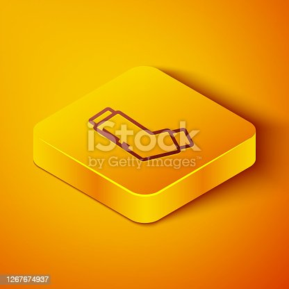 istock Isometric line Inhaler icon isolated on orange background. Breather for cough relief, inhalation, allergic patient. Medical allergy asthma inhaler spray. Yellow square button. Vector Illustration 1267674937