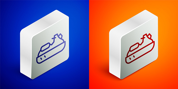 Isometric line Jet ski icon isolated on blue and orange background. Water scooter. Extreme sport. Silver square button. Vector