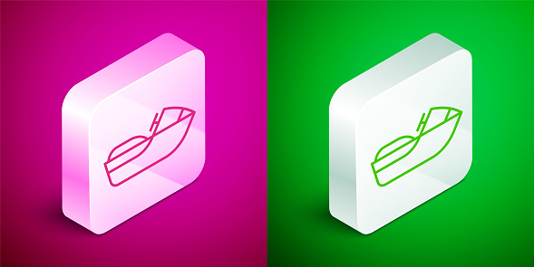 Isometric line Jet ski icon isolated on pink and green background. Water scooter. Extreme sport. Silver square button. Vector