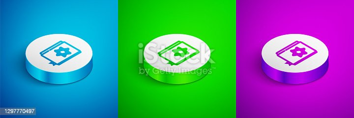 istock Isometric line Jewish torah book icon isolated on blue,green and purple background. Pentateuch of Moses. On the cover of the Bible is the image of the Star of David. White circle button. Vector 1297770497