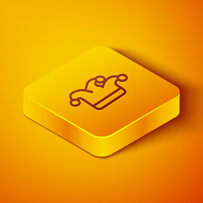 Isometric line Joker playing card icon isolated on orange background. Jester hat with bells. Casino gambling. Yellow square button. Vector Illustration