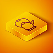 Isometric line Kettle with handle icon isolated on orange background. Teapot icon. Yellow square button. Vector Illustration