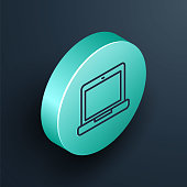Isometric line Laptop icon isolated on black background. Computer notebook with empty screen sign. Turquoise circle button. Vector Illustration