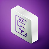 Isometric line Leaf document icon isolated on purple background. Nature file icon. Silver square button. Vector Illustration
