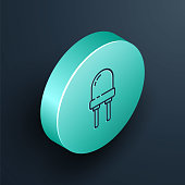Isometric line Light emitting diode icon isolated on black background. Semiconductor diode electrical component. Turquoise circle button. Vector Illustration