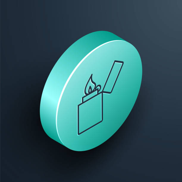 Isometric line Lighter icon isolated on black background. Turquoise circle button. Vector Illustration Isometric line Lighter icon isolated on black background. Turquoise circle button. Vector Illustration hot pockets stock illustrations