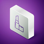 Isometric line Lipstick icon isolated on purple background. 8 March. International Happy Women Day. Silver square button. Vector Illustration
