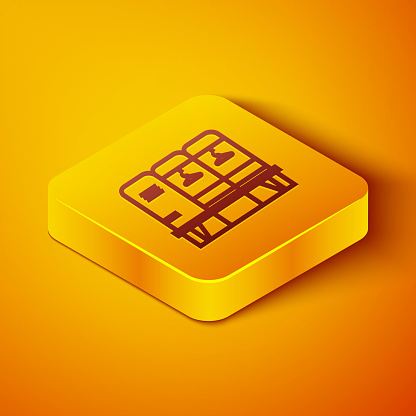 Isometric line Locker or changing room for hockey, football, basketball team or workers icon isolated on orange background. Yellow square button. Vector Illustration
