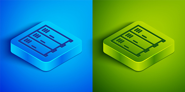 Isometric line Locker or changing room for hockey, football, basketball team or workers icon isolated on blue and green background. Square button. Vector