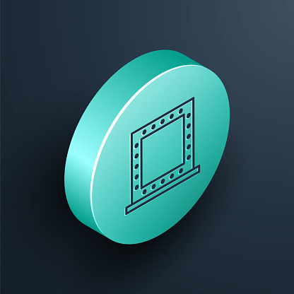 Isometric line Makeup mirror with lights icon isolated on black background. Turquoise circle button. Vector Illustration