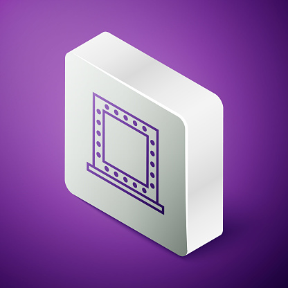 Isometric line Makeup mirror with lights icon isolated on purple background. Silver square button. Vector Illustration